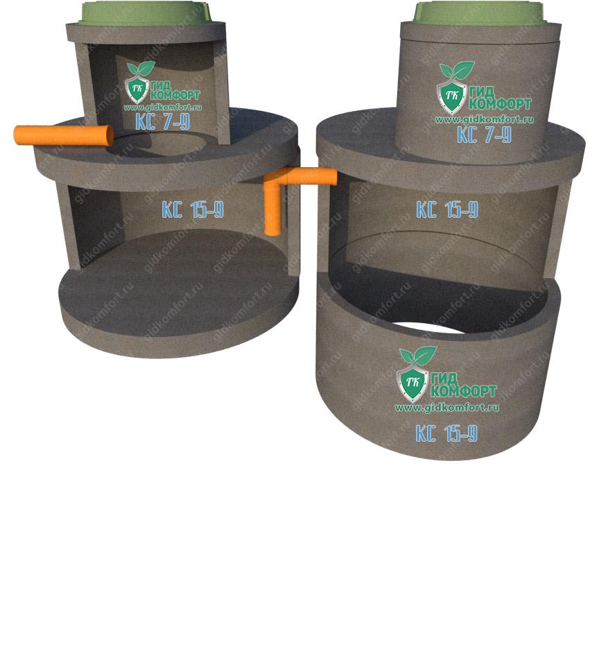 Септик из бетонных колец №11 4,5 м3 для трех человек