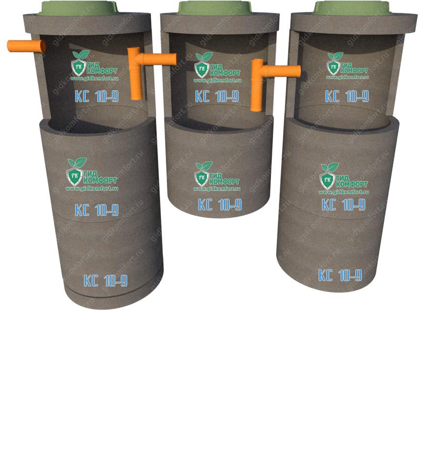Септик из бетонных колец №13 5,9 м3 для четырех человек