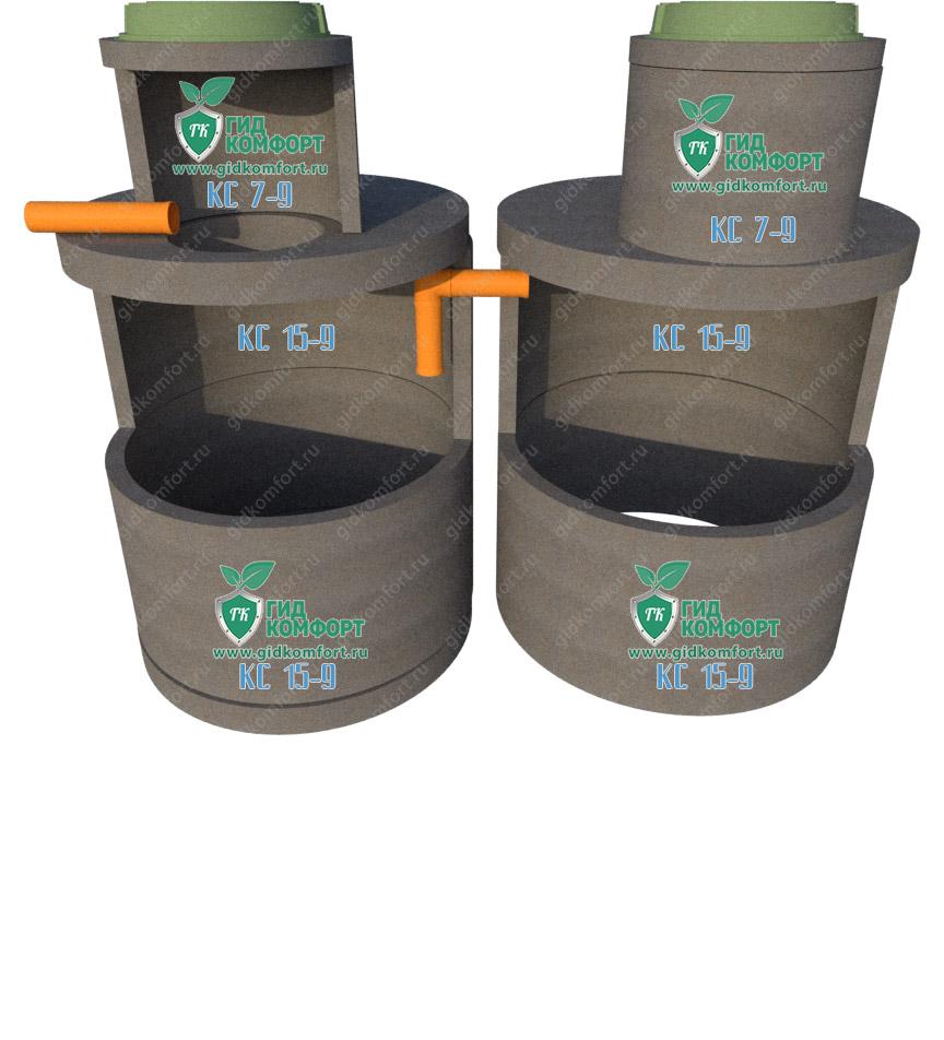 Септик из бетонных колец №14 6 м3 для пяти человек