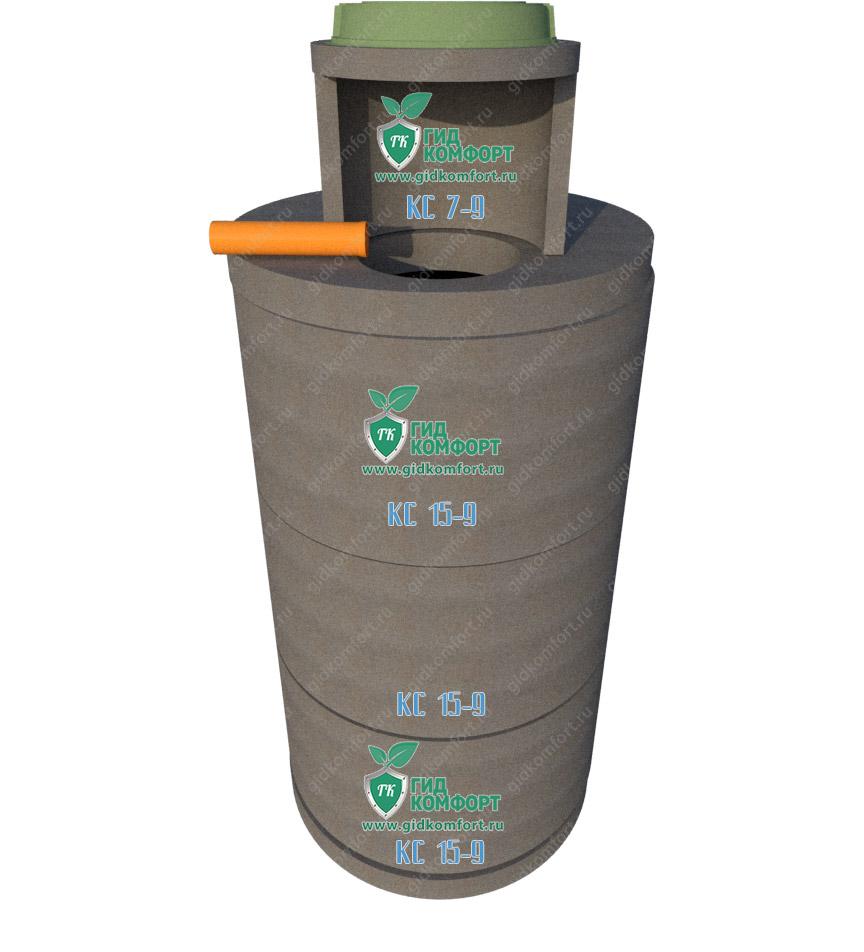 Септик из бетонных колец №15 4,5 м3 для четырех человек