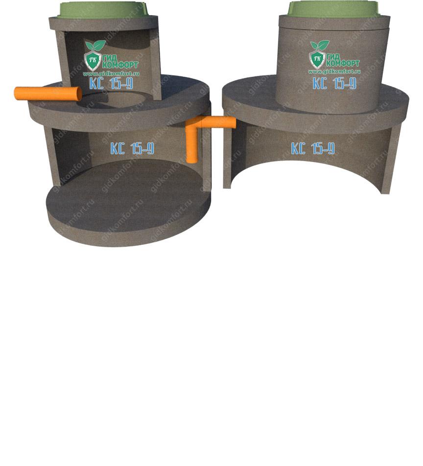 Септик из бетонных колец №18 3 м3 для трех человек