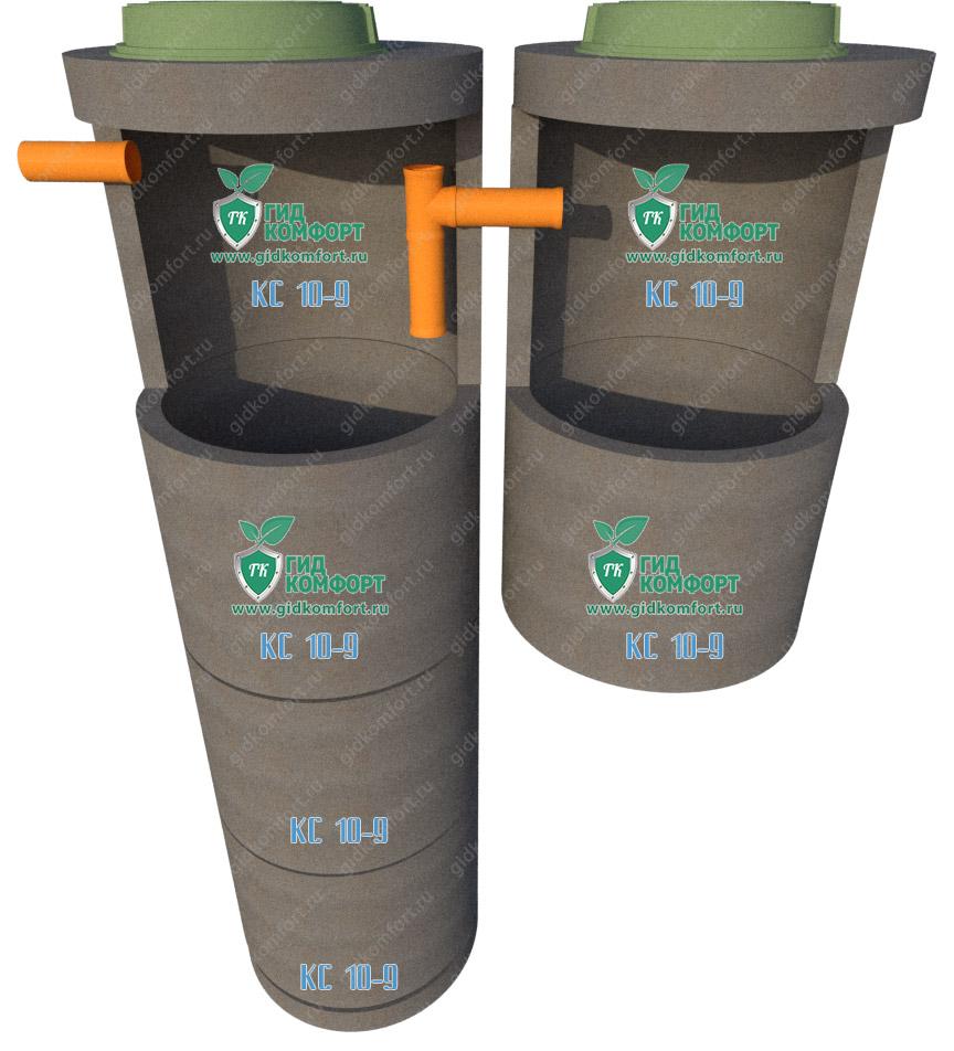 Септик из бетонных колец №19 4,5 м3 для пяти человек