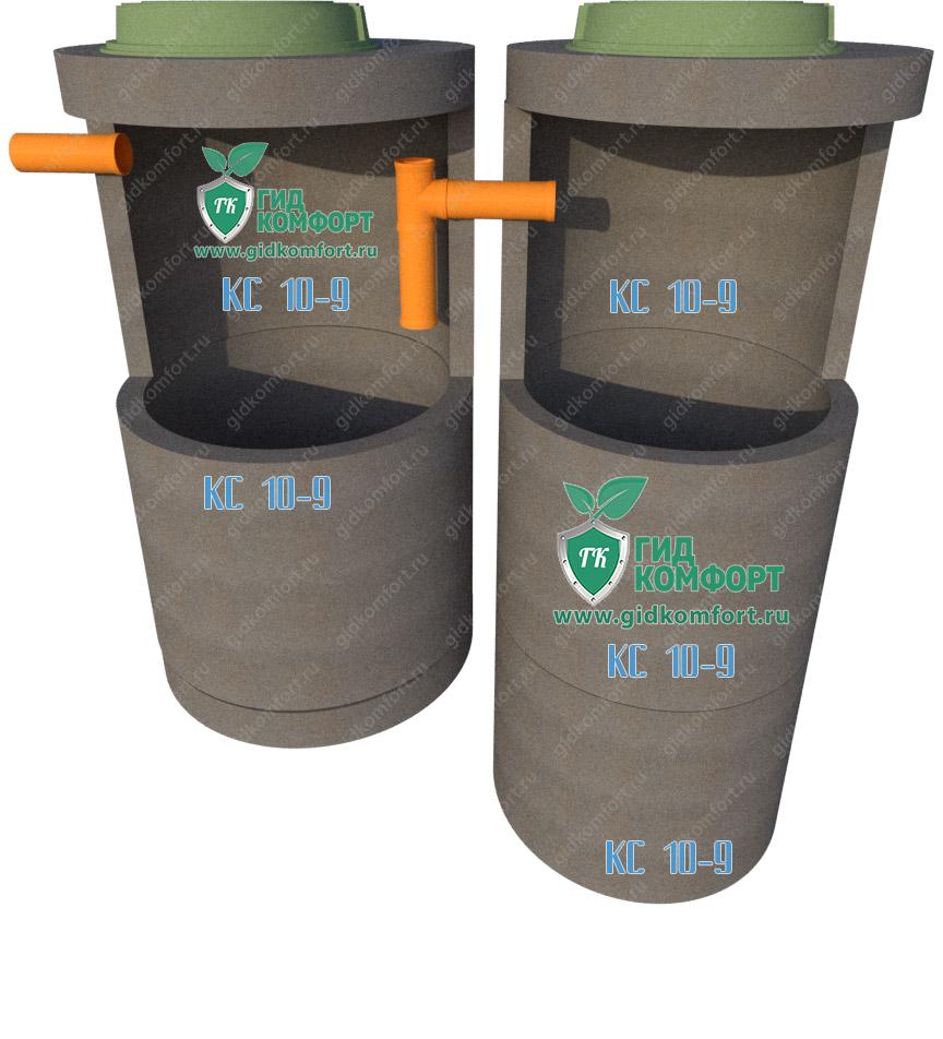 Септик из бетонных колец №3 3,7м3 для трех человек