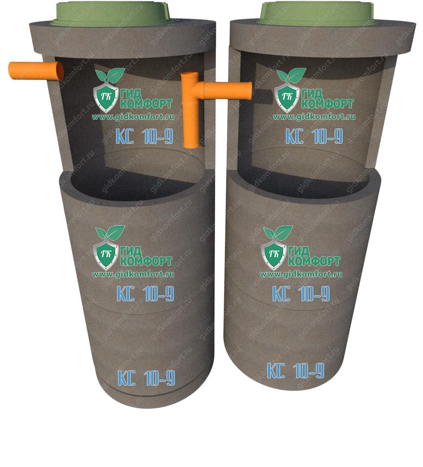 Септик из бетонных колец №5 4,5 м3 для двух человек