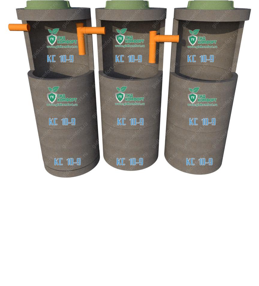 Септик из бетонных колец №7 6,7 м3 для четырех человек