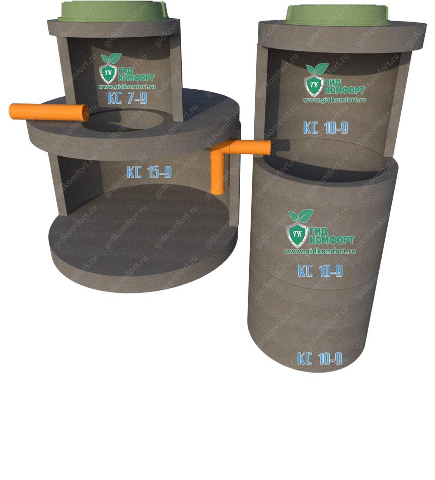 Септик из бетонных колец №9 3,7 м3 для трех человек